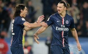 Les joueurs du PSG Edinson Cavani et Zlatan Ibrahimovic, le 29 novembre 2014.