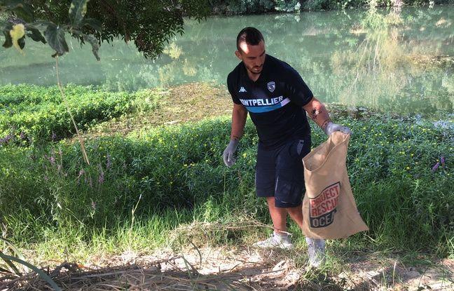 Louis Picamoles a participé à la dépollution du Lez, à Montpellier.