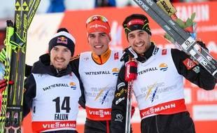 Jason Lamy Chappuis (à droite) a décroché le bronze lors du combiné des Mondiaux de ski nordique, le 20 février 2015 à Falun (Suède).