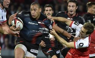 Le trois-quart centre du Stade Toulousain Gaël Fickou lors du match de Top 14 contre Grenoble, le 7 novembre 2015 à Toulouse.