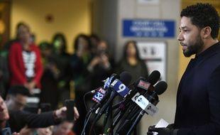 L'acteur Jussie Smollett s'exprime à Chicago le 26 mars 2019 après l'abandon des charges qui le visaient.