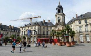 La place de la mairie à Rennes, le 16 août 2015