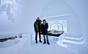 La suite confort de l'IceHotelJukkasjärvi en Suède, réalisés par Luc Voisin et Mathieu Brison, deux architectes lyonnais.
