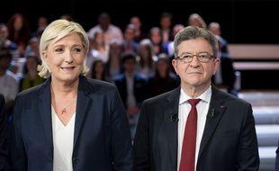 Marine Le Pen et Jean-Luc Mélenchon lors d'un débat en 2018.