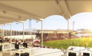 Vue du projet sur le virage nord du stade.