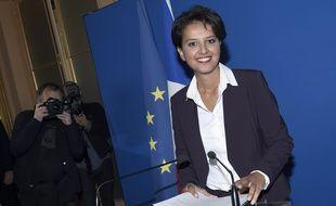 Najat Vallaud-Belkacem lors de sa conférence de presse de rentrée le 25 août 2015.