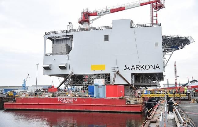 Le pont supérieur de la sous-station offshore «Arkona» lors de sa livraison à Saint-Nazaire le 1er mars 2008.
