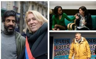 Vikash Dhorasoo et Danielle Simonnet (LFI), Audrey Pulvar et Anne Hidalgo (PS), Jean-Marie Bigard, soutien de Marcel Campion