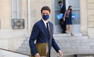 Le porte-parole du gouvernement, Gabriel Attal, à la sortie de l'Elysée.