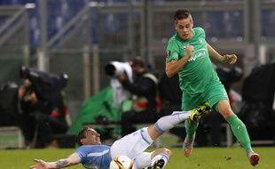 Romain Hamouma, l'attaquant de Saint-Etienne, lors d'un match de Ligue Europa à Rome face à la Lazio, le 1er octobre 2015.