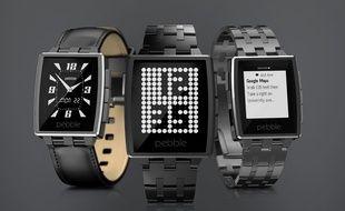 Des montres Pebble Steel.