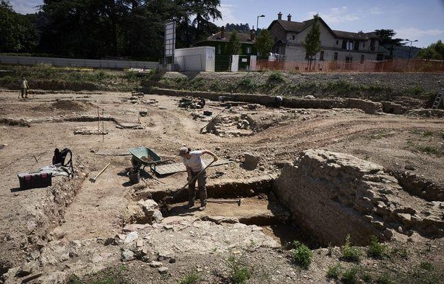 Le chantier de fouilles à Saint-Colombe, près de Lyon.