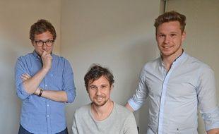 Les trois fondateurs du site We want sport, Vincent Inverardi (à gauche), aux côtés de Sandy et Sylvère Paillot.