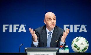 Le président de la Fifa Gianni Infantino en conférence de presse, le 18 mars 2016 à Zurich.