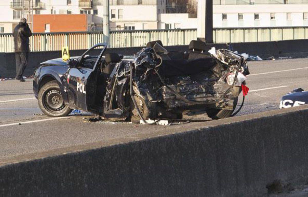 Deux policiers de la BAC de Paris sont morts dans une course poursuite  sur le péripherique interieur de Paris, le 21 février 2013. – A. GELEBART / 20 MINUTES