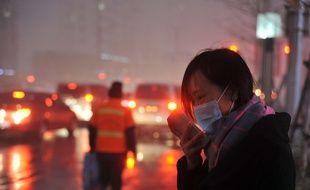Une femme porte un masque en plein «fog» à Shenyang, dans le nord-est de la Chine, le 8 novembre 2015.