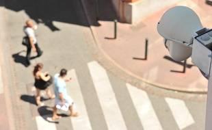 Illustration camera et zone de videosurveillance dans le centre ville de Toulouse.
