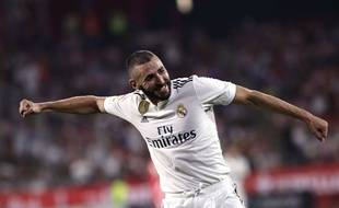 Karim Benzema a inscrit un doublé avec le Real Madrid face à Gérone, le 26 août 2018.