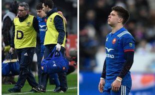 Antoine Dupont (à gauche) et Matthieu Jalibert souffrent de graves blessures au genou.