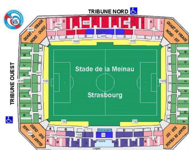 Plan du stade de la Meinau.
