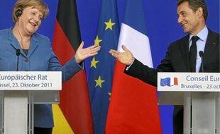 Angela Merkel et Nicolas Sarkozy, hier à Bruxelles.