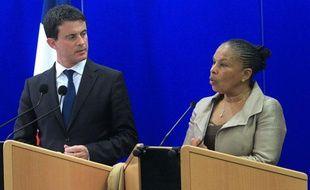 Les ministres de l'Intérieur et de la Justice Manuel Valls et Christiane Taubira, le 15novembre 2012 en Corse.