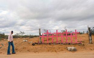 Des croix roses en mémoire de victimes de féminicides à Ciudad Juarez, le 22 novembre 2019 (illustration).