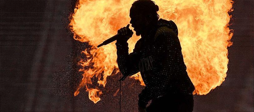 Kendrick Lamar en concert aux Brit Awards, à Londres, le 21 février.