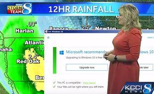 Le 26 avril 2016, une présentatrice météo a eu la drôle de surprise de voir s'afficher une suggestion de mise à jour de Windows.