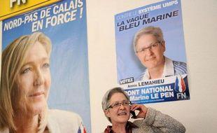 La déléguée régionale du syndicat Force Ouvrière Annie  Lemahieu, candidate Front national aux élections cantonales dans le Nord, le 9 mars 2011 à Lille.