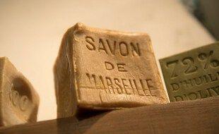 Illustration: Un bloc de savon de Marseille au Musée du Savon de Marseille, le 12 mars 2018, à Marseille.