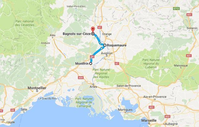 Le parcours du conducteur fou, entre Montfrin et Bagnols-sur-Cèze (Gard)