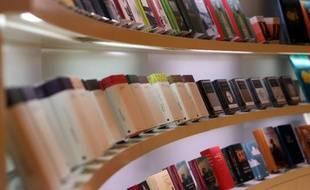 Des livres exposés lors de Foire du livre de Francfort, le 8 octobre 2014