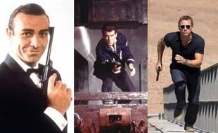 Sean Connery, Pierce Brosnan et Daniel Craig, dans le rôle de James Bond 007.