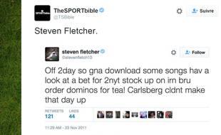 Tweet de Steven Fletcher, datant de 2011.