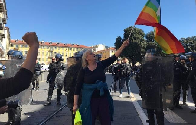 Geneviève Legay avant la charge des policiers, le 23 mars à Nice.
