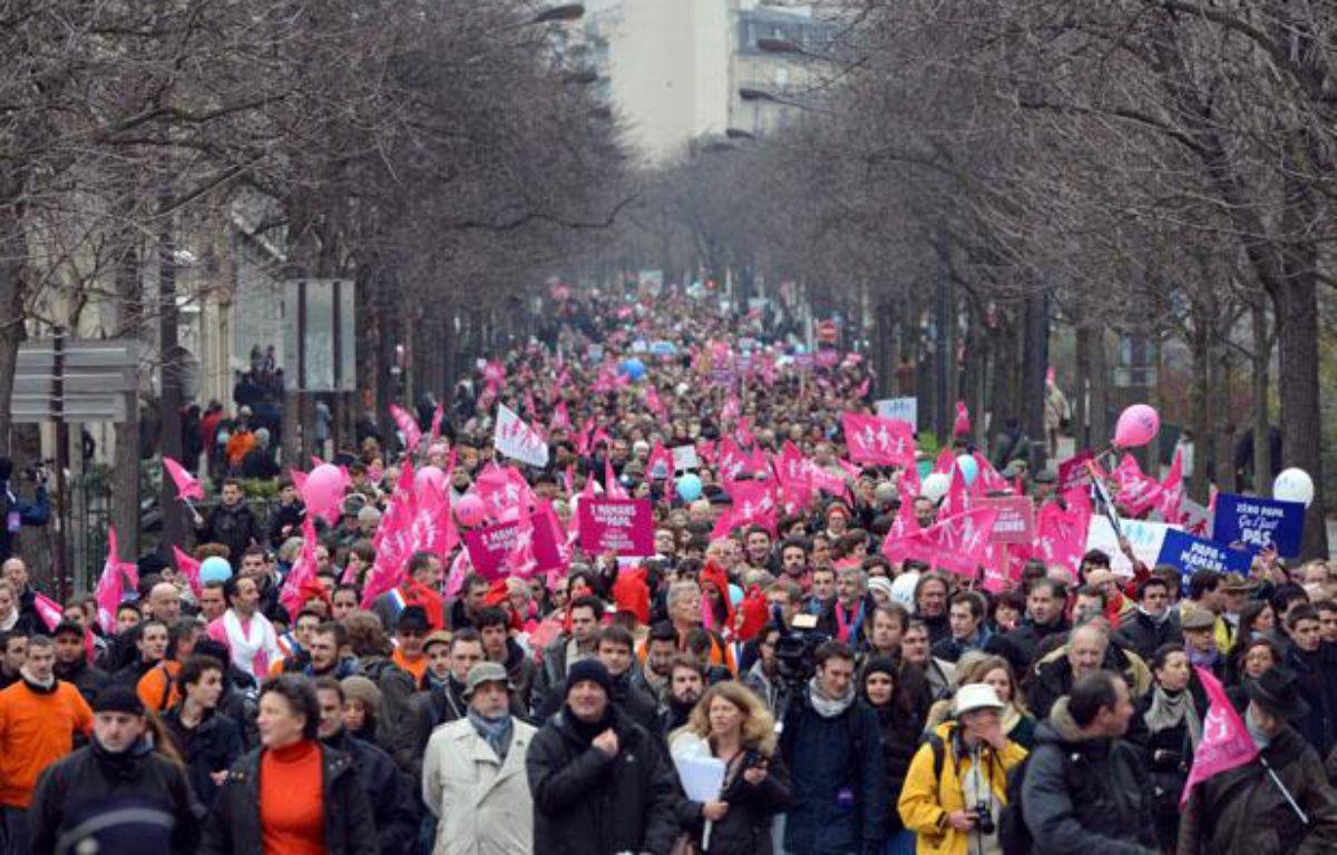 Manifestation contre le mariage pour tous à Paris, dimanche 13janvier. – MIGUEL MEDINA / AFP