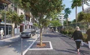 Le plan de végétalisation prévu par Christian Estrosi, ici dans la rue Trachel.