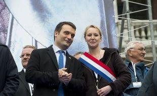 Florian Philippot, vice-président du FN, et la députée FN Marion Maréchal-Le Pen, le 1er mai 2013 à Paris