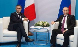 Emmanuel Macron et Vladimir Poutine lors du G20 à Hambourg en juillet 2017.