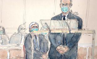 Dessin de Nicolas Sarkozy à la barre de la 32e chambre du tribunal judiciaire de Paris.