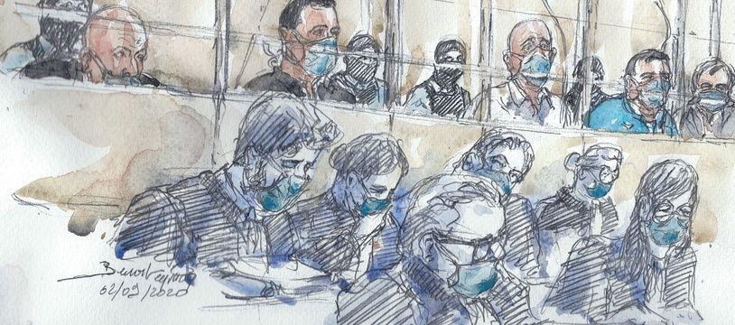 Le doyen des accusés - au fond sur ce dessin - a été longuement entendu ce mardi par la cour d'assises spéciale