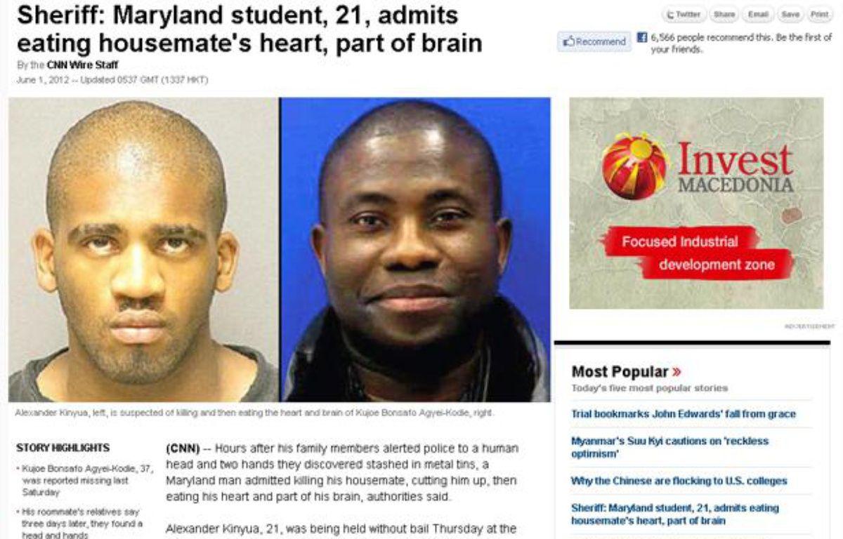 Capture d'écran du site de CNN relatant le meurtre de Kujoe Bonsafo Agyei-Kodie (à droite) par Alexander Kinyua (à gauche) qui aurait ensuite mangé son coeur et une partie de son cerveau. – 20minutes.fr