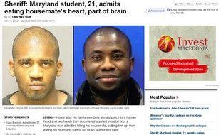 Capture d'écran du site de CNN relatant le meurtre de Kujoe Bonsafo Agyei-Kodie (à droite) par Alexander Kinyua (à gauche) qui aurait ensuite mangé son coeur et une partie de son cerveau.