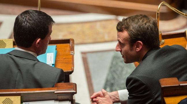 Le Premier ministre Manuel Valls et le ministre de l'Economie Emmanuel Macron à l'Assemblée nationale, le 18 novembre 2014 –  WITT/SIPA