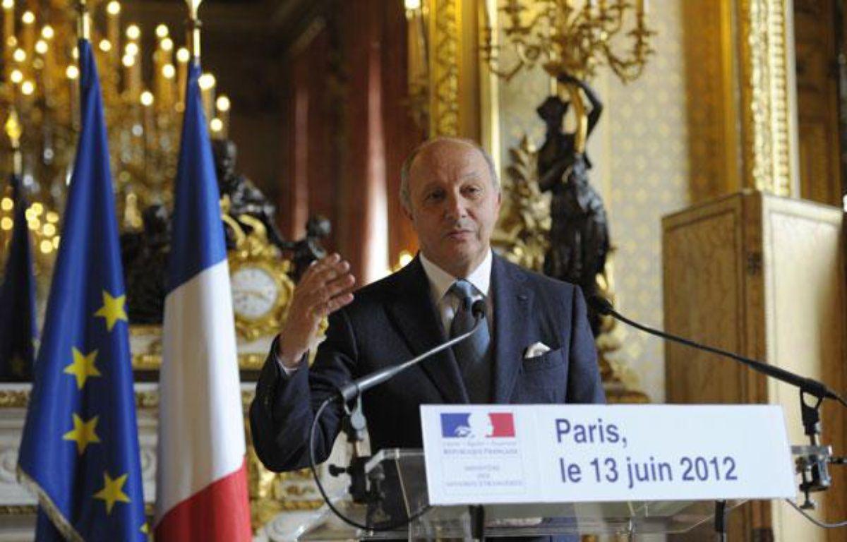 Le ministre des Affaires Etrangères, Laurent Fabius, lors d'un point presse sur la Syrie au Quai d'Orsay, à Paris, le 13 juin 2012. – REUTERS/Philippe Wojazer
