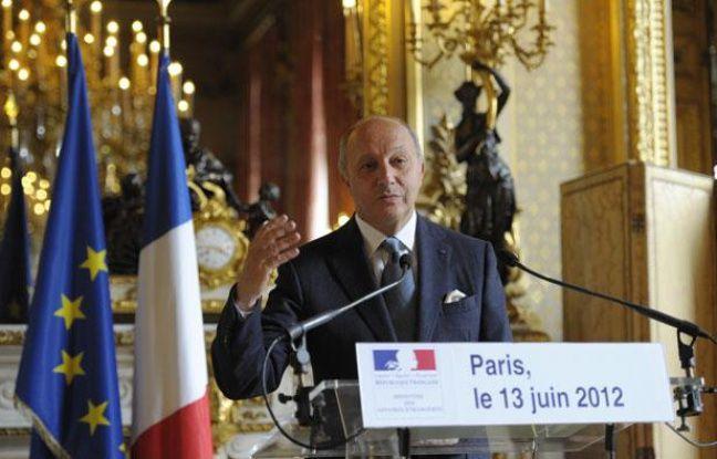 Le ministre des Affaires Etrangères, Laurent Fabius, lors d'un point presse sur la Syrie au Quai d'Orsay, à Paris, le 13 juin 2012.