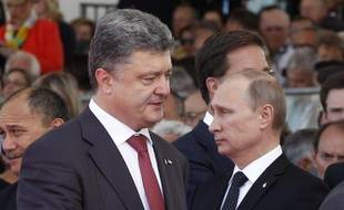 Petro Porochenko et Vladimir Poutine le 6 juin 2014 à Ouistreham