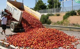 Des producteurs de légumes en colère ont saboté une partie de leur production à Le Bouhou, une ville près de la frontière espagnole.