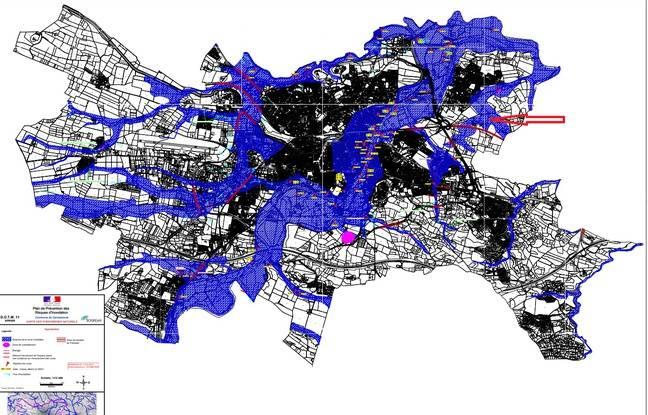 La carte des phénomènes naturels du Plan de prévention des risques d'inondation de la ville de Carcassonne.